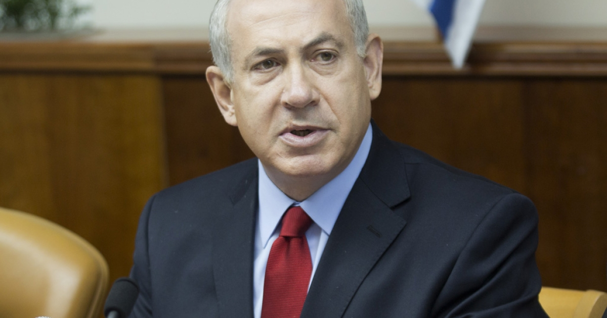 Israeli Prime Minister Benjamin Netanyahu addresses the weekly cabinet meeting  on September 9, 2012 in Jerusalem.</p>
