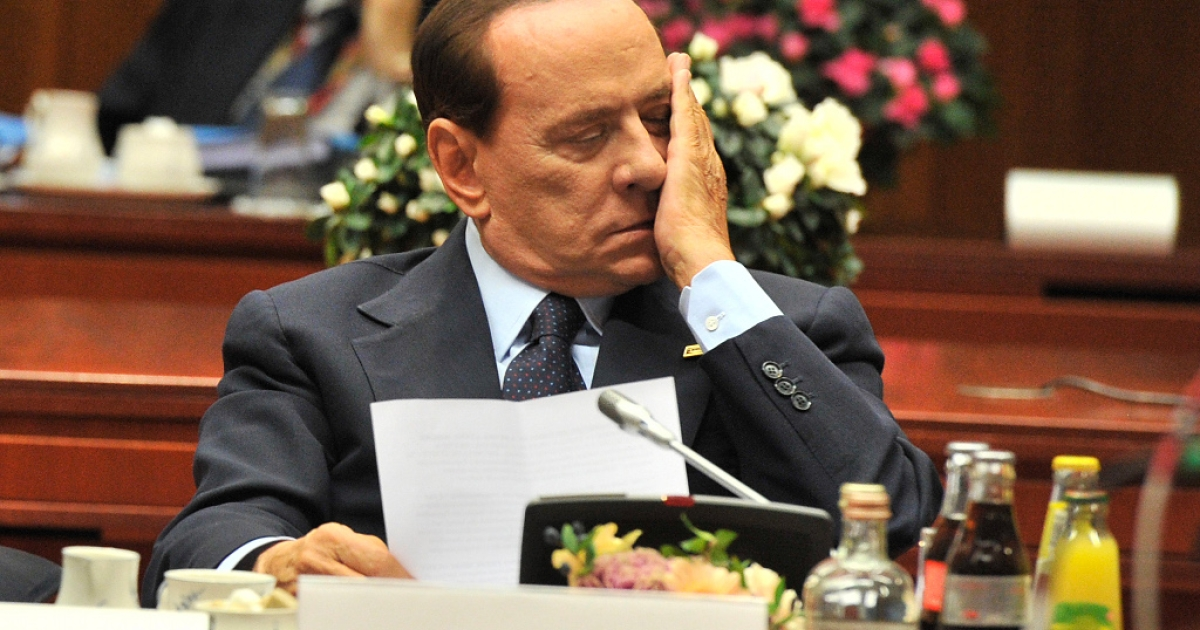 Silvio Berlusconi shows the pressure at yesterday's Euro Summit in Brussels.  There is no relief in sight for Italy's Prime Minister as his colleagues pile pressure on him to take the necessary steps to stave off a possible sovereign debt crisis in Italy.</p>
