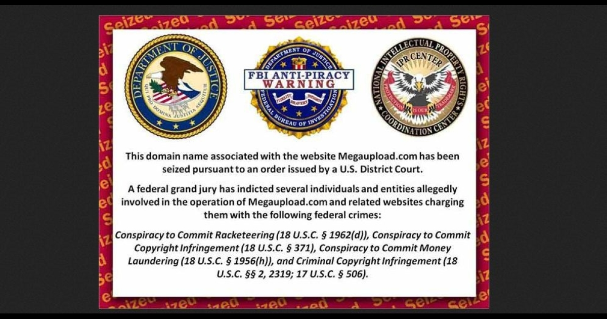The Megaupload.com domain has been replaced with a warning from the US Department of Justice, the FBI and the US Intellectual Property Rights Coordination Center that the website has been seized and shut down.</p>