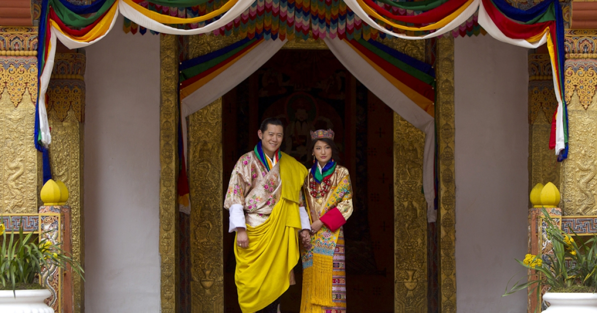 His majesty King Jigme Khesar Namgyel Wangchuck, 31, and the Queen Jetsun Pema, 21, walk out after their marriage ceremony is completed on Oct. 13, 2011 in Punakha, Bhutan.</p>