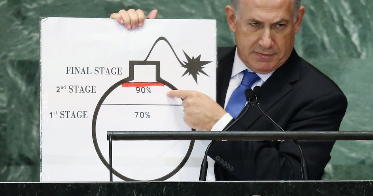Benjamin Netanyahu, Prime Minister of Israel, points to a red line he drew on a graphic of a bomb while addressing the United Nations General Assembly on September 27, 2012 in New York City. The 67th annual event gathers more than 100 heads of state and government for high level meetings on nuclear safety, regional conflicts, health and nutrition and environment issues.</p>