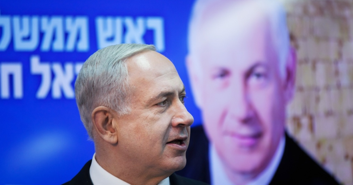 Israeli Prime Minister Benjamin Netanyahu campaigning in Tel Aviv ahead of the Jan. 22 elections.</p>