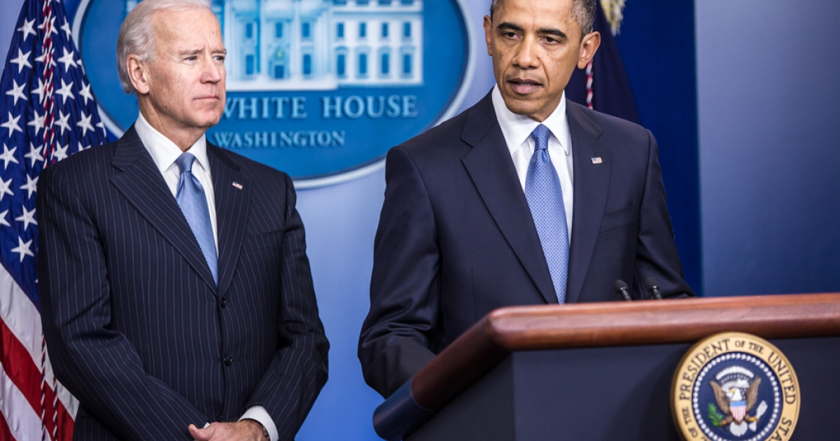 President Barack Obama makes a statement alongside Vice President Joseph R. Biden (L) in the White House Briefing Room on January 1, 2013 in Washington, DC. Biden is leading talks about gun safety and will meet with representatives from the NRA and Wal-Mart.</p>
