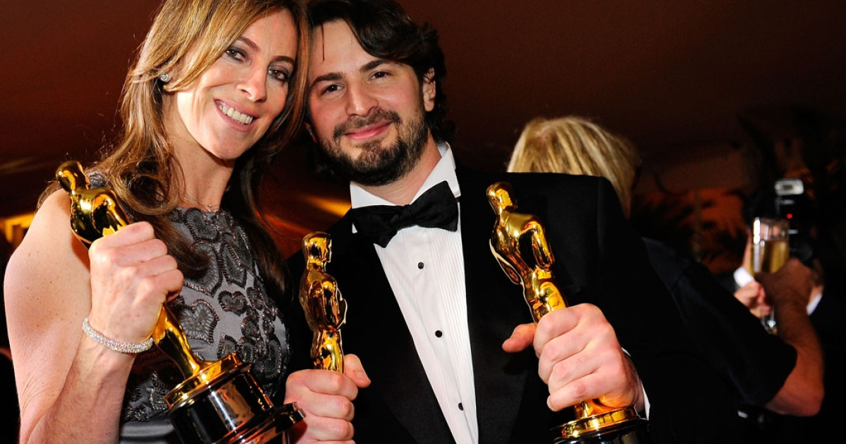 Kathryn Bigelow, winner of best director, and writer Mark Boal, winner of best original screenplay, pose with their Oscars for The Hurt Locker at the 82nd Academy Awards on March 7, 2010, in Hollywood.</p>
