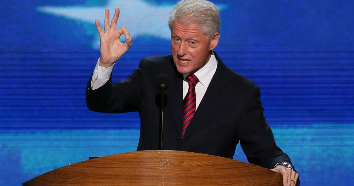 Former US President Bill Clinton speaks on stage during day two of the Democratic National Convention at Time Warner Cable Arena on Sept. 5, 2012 in Charlotte, NC.</p>