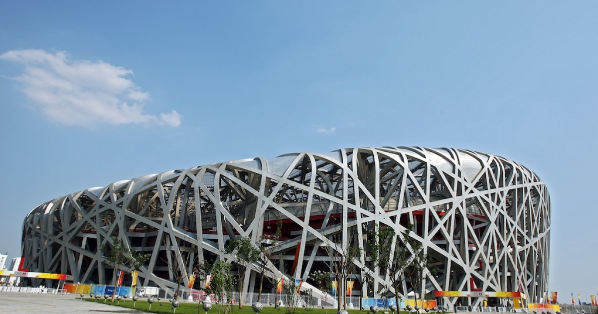 The National Stadium, also known as the Bird's Nest, is seen prior to the start of the Beijing 2008 Olympic Games on August 2, 2008 in Beijing, China.</p>