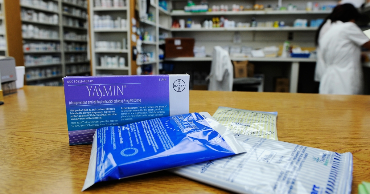 Prescription contraceptives for women sit on the counter of a drug store in Los Angeles on Aug. 1, 2011.</p>