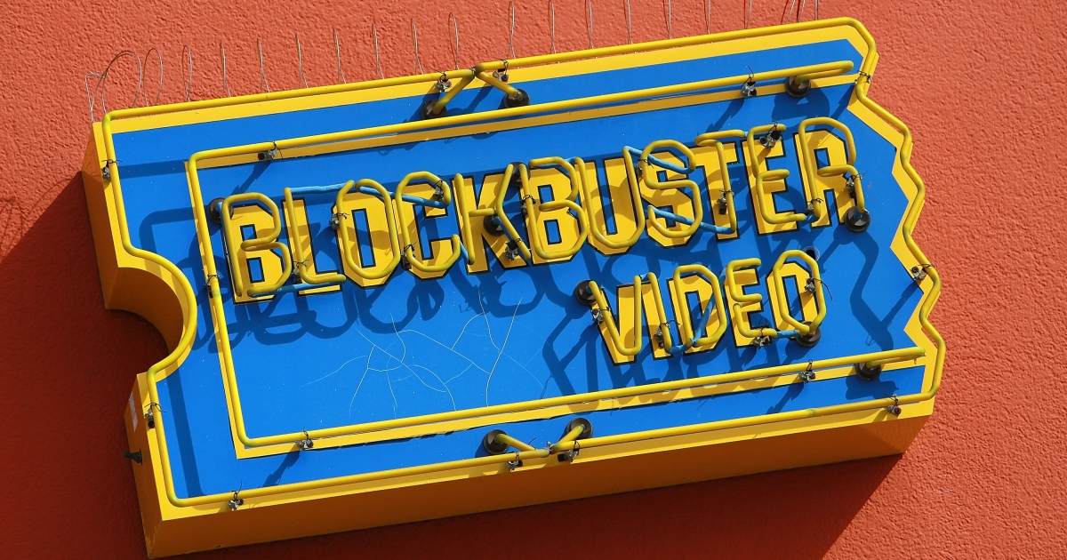 The Blockbuster logo on the side of a store in San Francisco, Calif.</p>