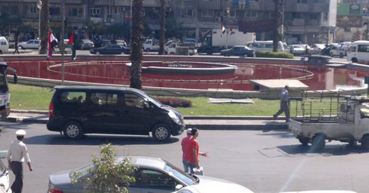 Protestors in Damascus stained a fountain red to symbolize the