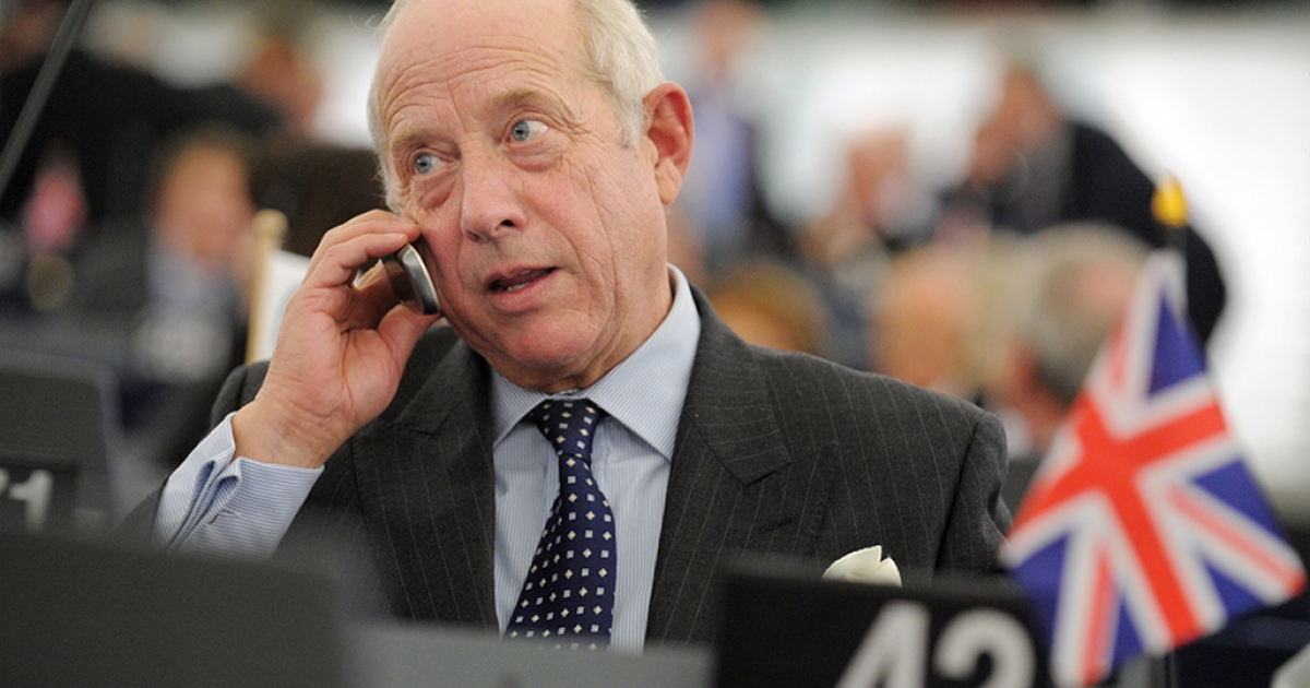 British Member of the European Parliament Godfrey Bloom talks on the phone in Strasbourg on Nov. 24, 2010. Bloom was ordered to leave the chamber after he said