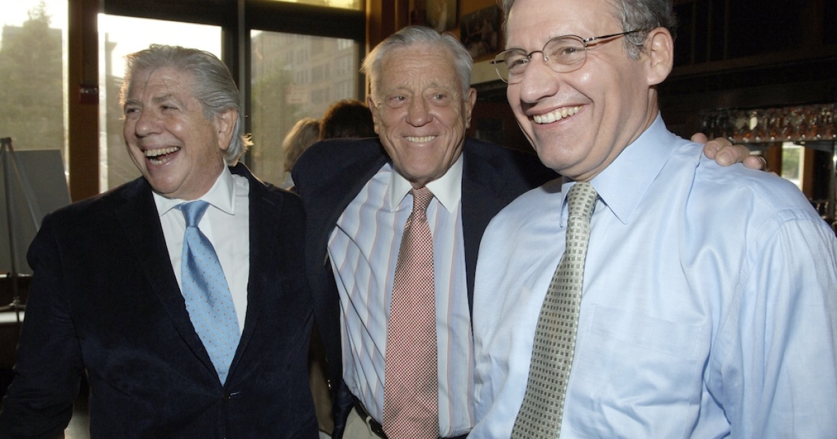 (L-R) Carl Bernstein, Ben Bradlee and Bob Woodward attend the screening of 'All The President's Men' at the Tribeca Cinemas on July 19, 2005 in New York City.</p>