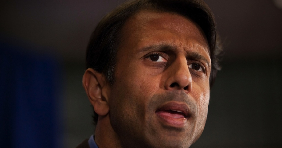 Louisiana Gov. Bobby Jindal gives a speech supporting Texas Governor and Republican presidential candidate Rick Perry at the Hotel Pattee on Jan. 2, 2012 in Perry, Iowa.</p>