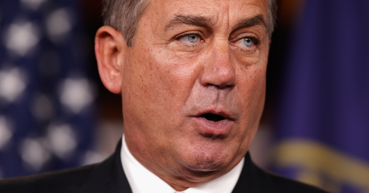 Speaker of the House John Boehner at a news conference with fellow GOP House members at the US Capitol on Dec. 22, 2011.</p>