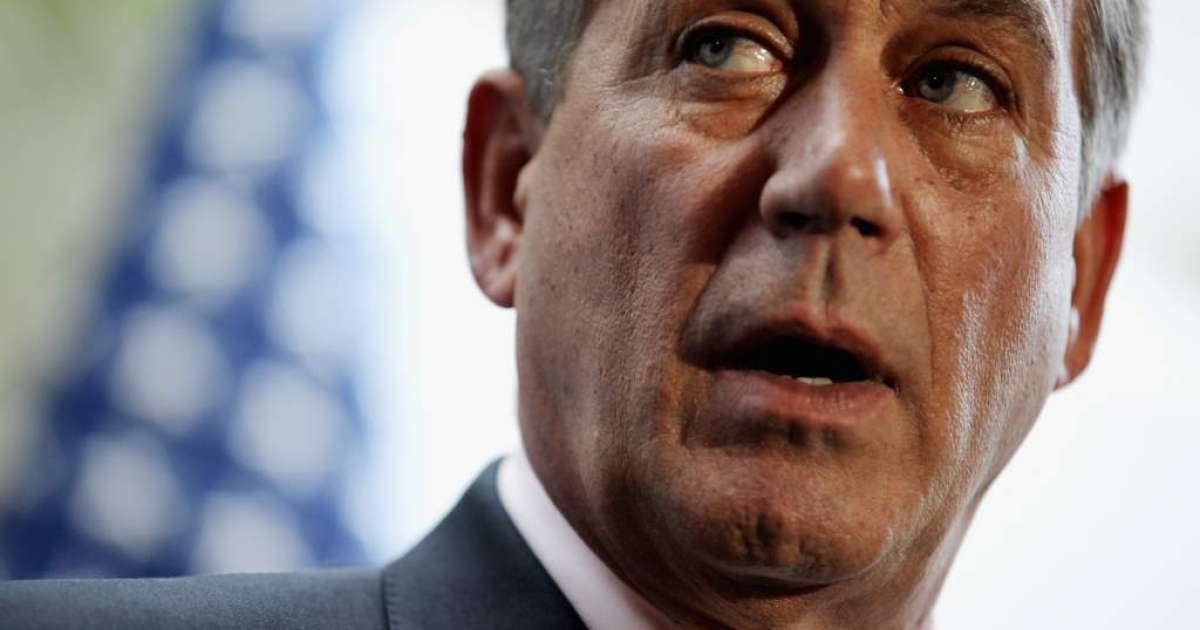 Speaker of the House John Boehner (R-OH) talks with reporters after a House Republican Caucus Meeting at the U.S. Captiol October 25, 2011 in Washington, DC.</p>