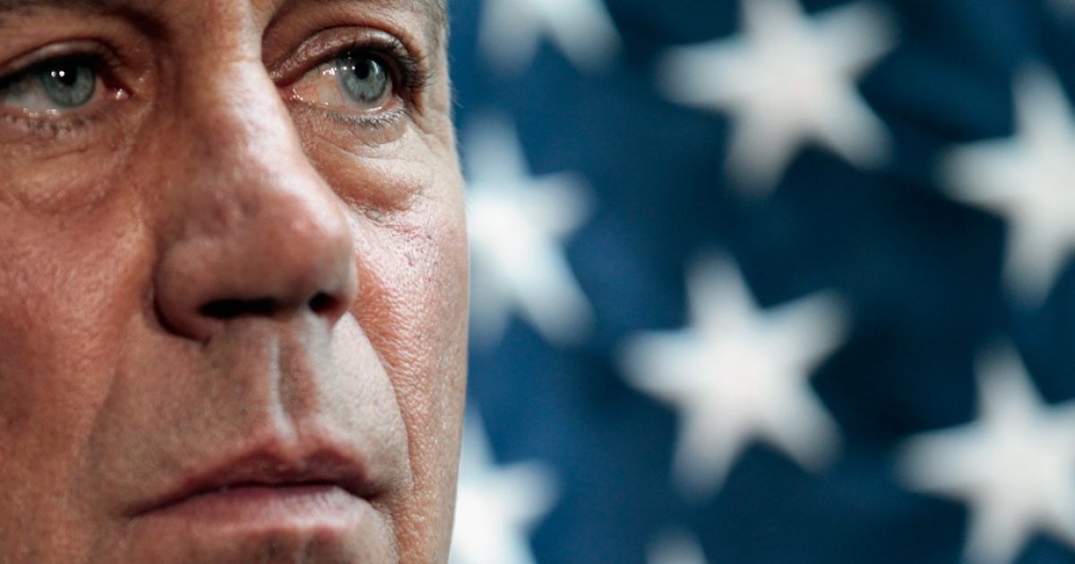 Speaker of the House John Boehner answers reporters' questions during a press briefing after a caucus meeting at the U.S. Capitol July 12, 2011 in Washington, DC.</p>