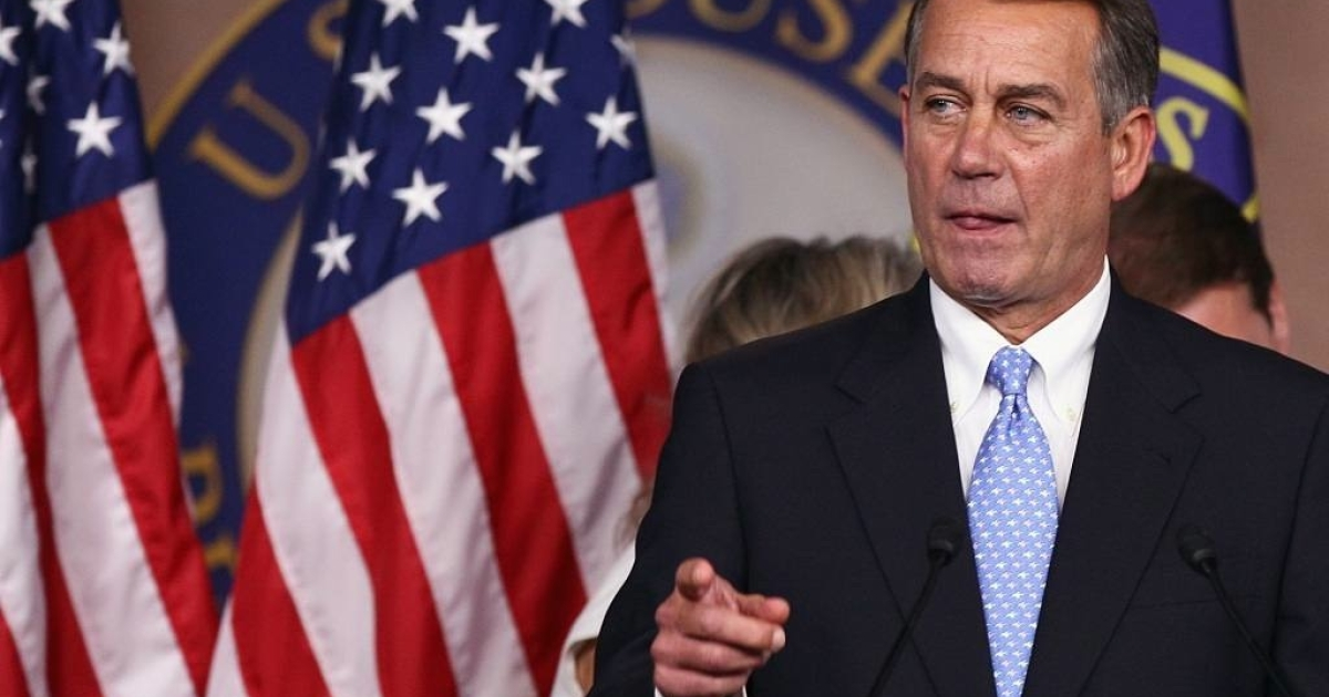 U.S. Speaker of the House John Boehner (R-OH) speaks at a news conference on the debt limit impasse at the U.S. Capitol on July 28, 2011 in Washington, DC.</p>