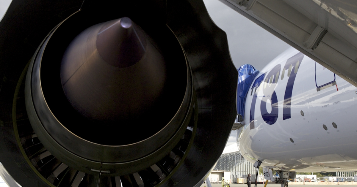 The Roll Royce engine is pictured on a Boeing Boeing 787 Dreamliner belonging to All Nippon Airways September 25, 2011 in Everett, Washington. Boeing delivered its long-awaited and delayed first 787 airliner to All Nippon Airways which it will celebrate before ANA flies the airliner to Japan September 27, 2011.</p>