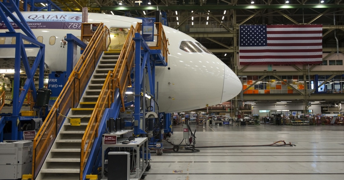A Boeing 787 Dreamliner aircraft under construction at a Boeing production facility near Washington.</p>