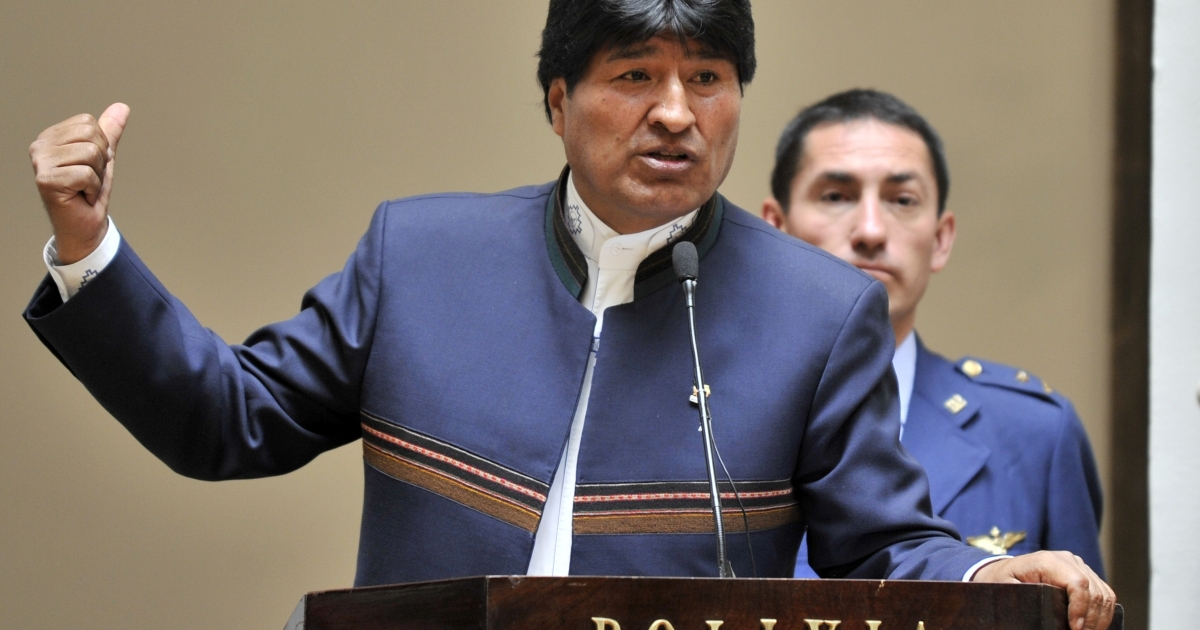 Bolivian President Evo Morales delivers a speech on Oct. 23, 2012 at the Palacio Quemado presidential palace in La Paz.</p>