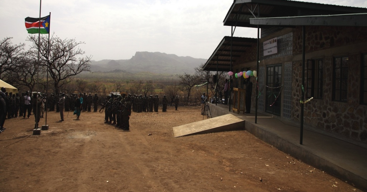 This photo shows Boma National Park Headquarters opening ceremony in the Republic of South Sudan on Mar. 8, 2012. Photo © Paul Elkan WCS</p>