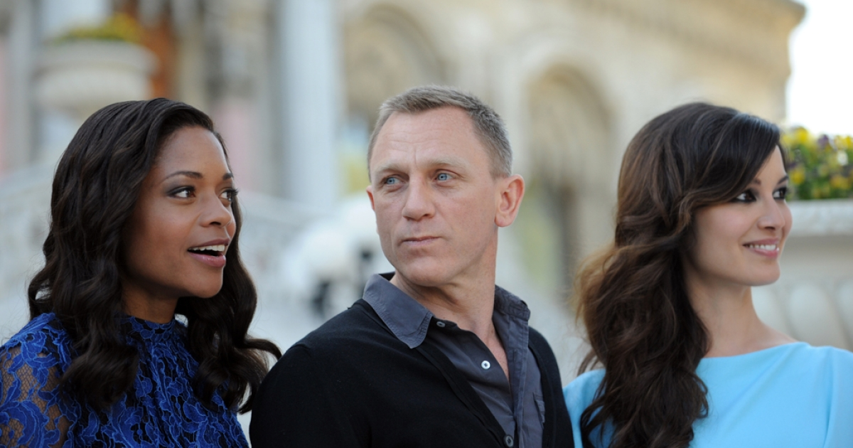 Britsh actor Daniel Craig, French actress Berenice Marlohe and British Naomie Harris, left, pose during the presentation of the latest James Bond film