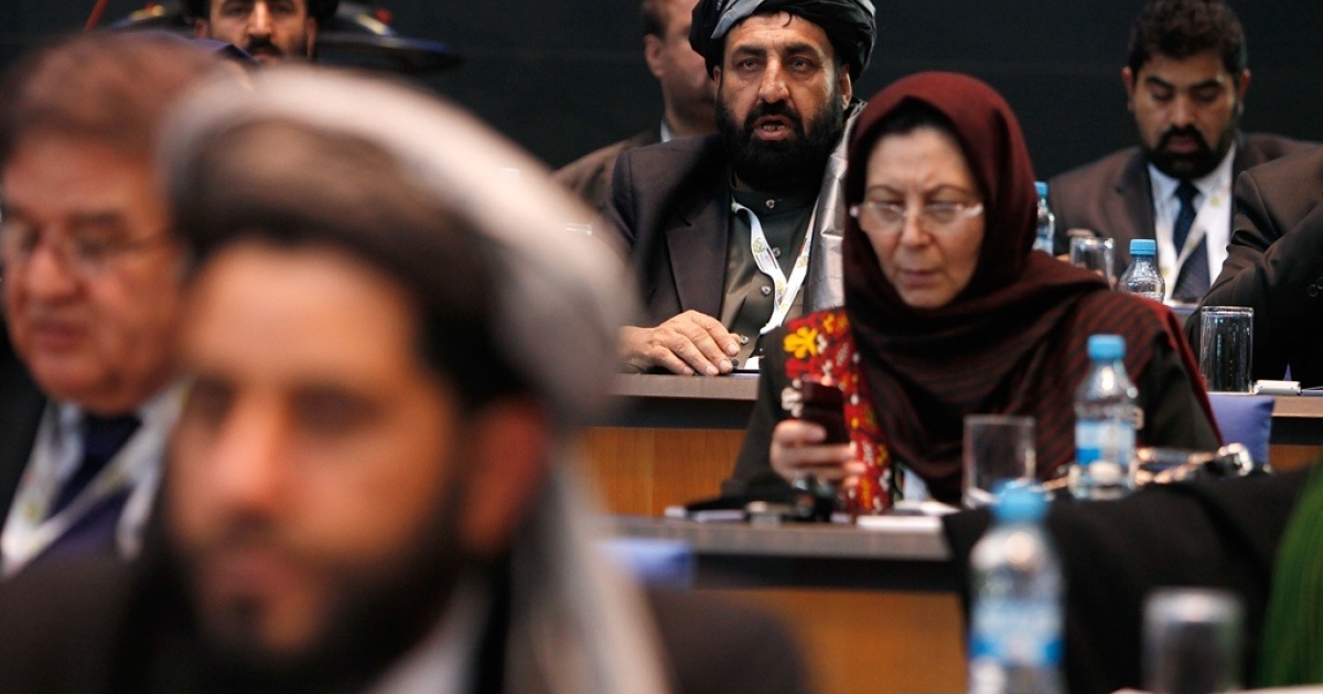 The Afghan delegation attends the 10th annual international Afghanistan conference on Dec. 5, 2011 in Bonn, Germany.</p>