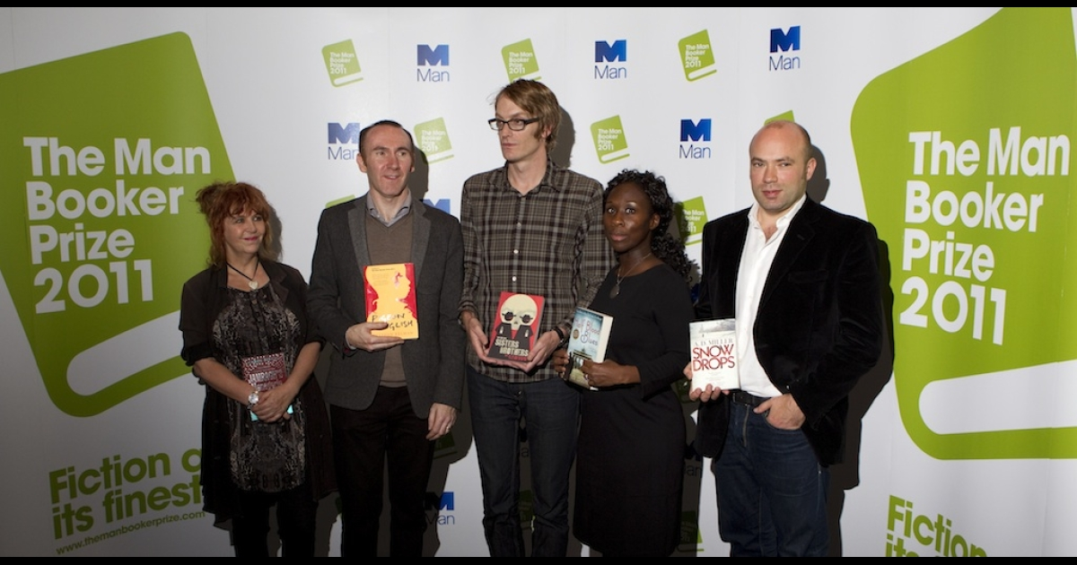 The authors shortlisted for the Man Booker 2011 literary prize, from left, Carol Birch, Stephen Kelman, Patrick deWitt, Esi Edugyan, and AD Miller pose on October 17, 2011 ahead of a book-signing session in London.</p>