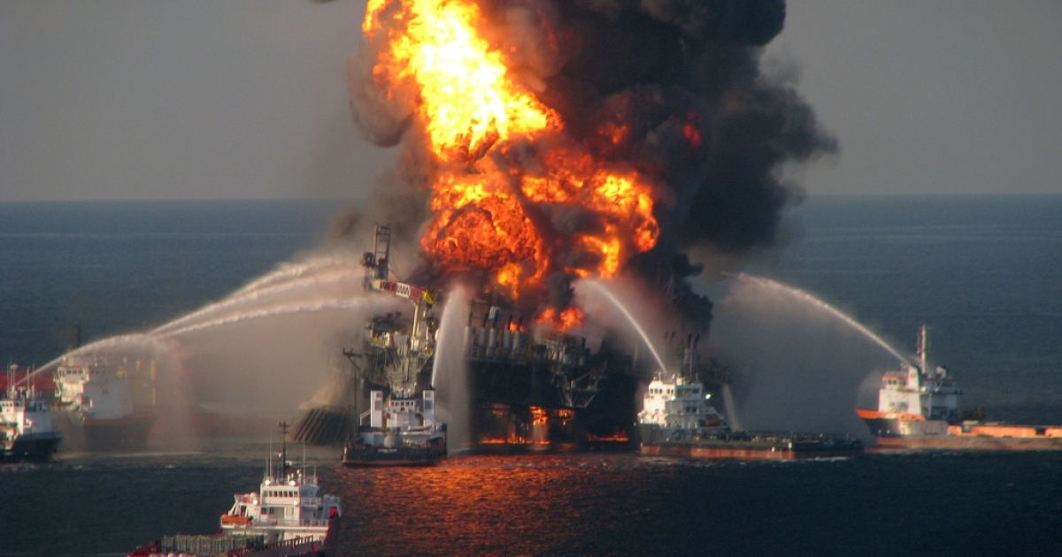 In this handout image provided be the U.S. Coast Guard, fire boat response crews battle the blazing remnants of the off shore oil rig Deepwater Horizon in the Gulf of Mexico on April 21, 2010 near New Orleans, Louisiana.  An estimated 206 million gallons of crude oil have spilled into the gulf from accident. Multiple Coast Guard helicopters, planes and cutters responded to rescue the Deepwater Horizon's 126 person crew.</p>