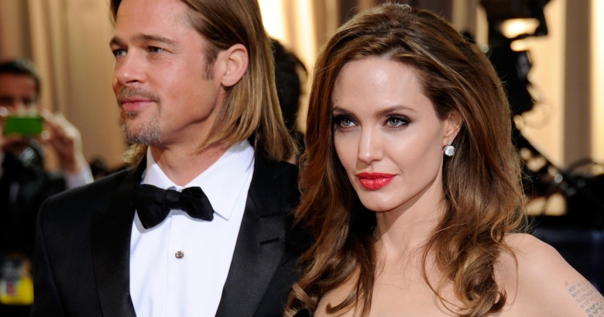 Brad Pitt and Angelina Jolie arrive at the 84th Annual Academy Awards at the Hollywood &amp; Highland Center in February.</p>