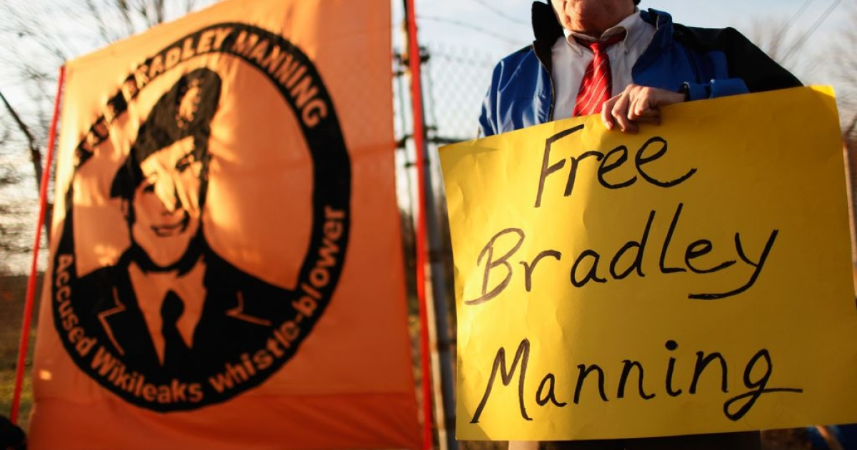 Supporters of US Army Private Bradley Manning, hold vigil outside the gates of Fort George G. Meade, Maryland, where Manning's Article 32 preliminary hearing began on December 18, 2011.</p>