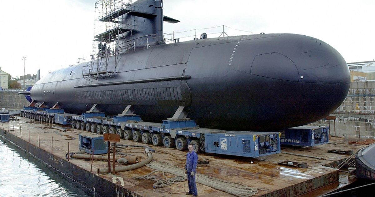 A Scorpene-class diesel submarine at the shipyard in Cherbourg, France, on Oct. 21, 2003.</p>