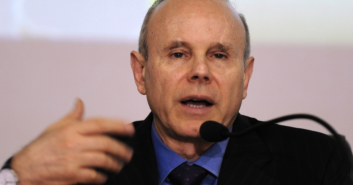 Brazilian Minister of Finance Guido Mantega speaks during a press conference in Brasilia on February 15, 2012.</p>