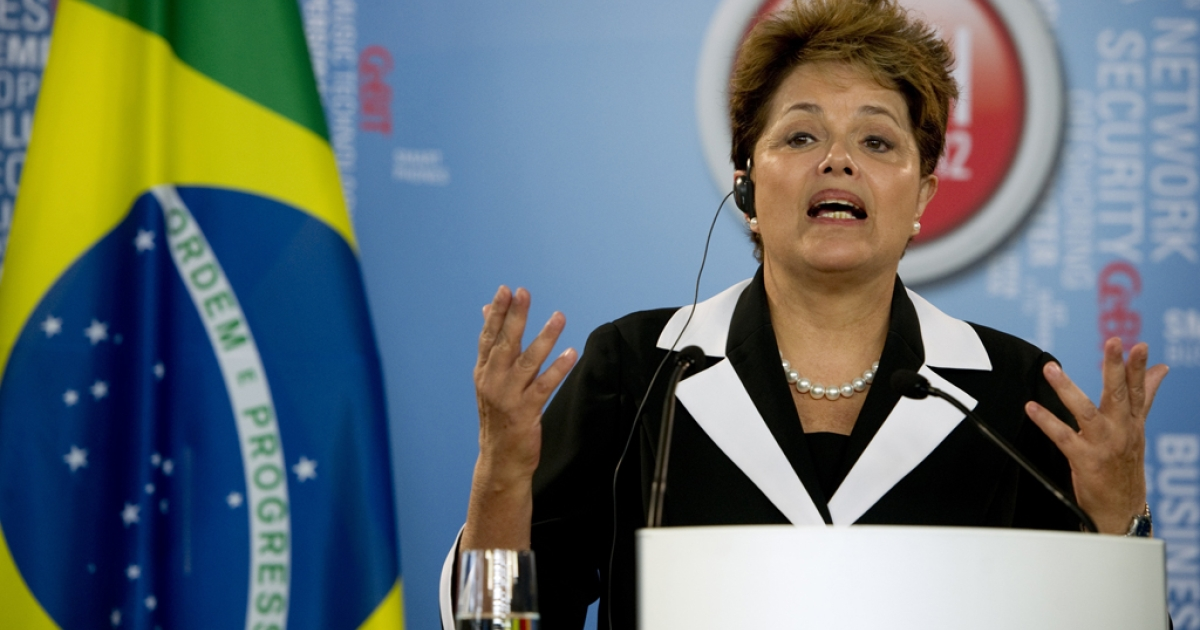 Brazilian President Dilma Rouseff addresses the media on March 6, 2012 in Hanover, central Germany. Despite a slowdown in economic growth, Brazil has overtaken the United Kingdom as the world's sixth largest economy with a GDP standing at $2.52 trillion.</p>