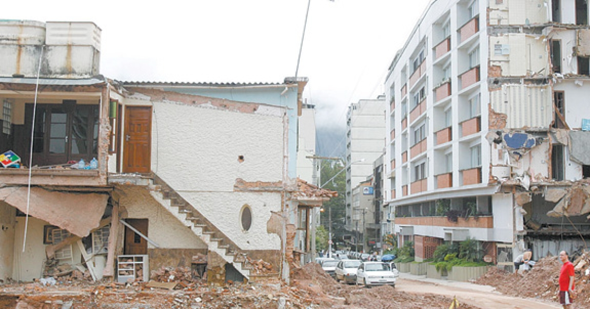 Mud and debris still choke the streets of Nova Friburgo, one of the Brazilian cities devastated by deadly landslides in January.</p>
