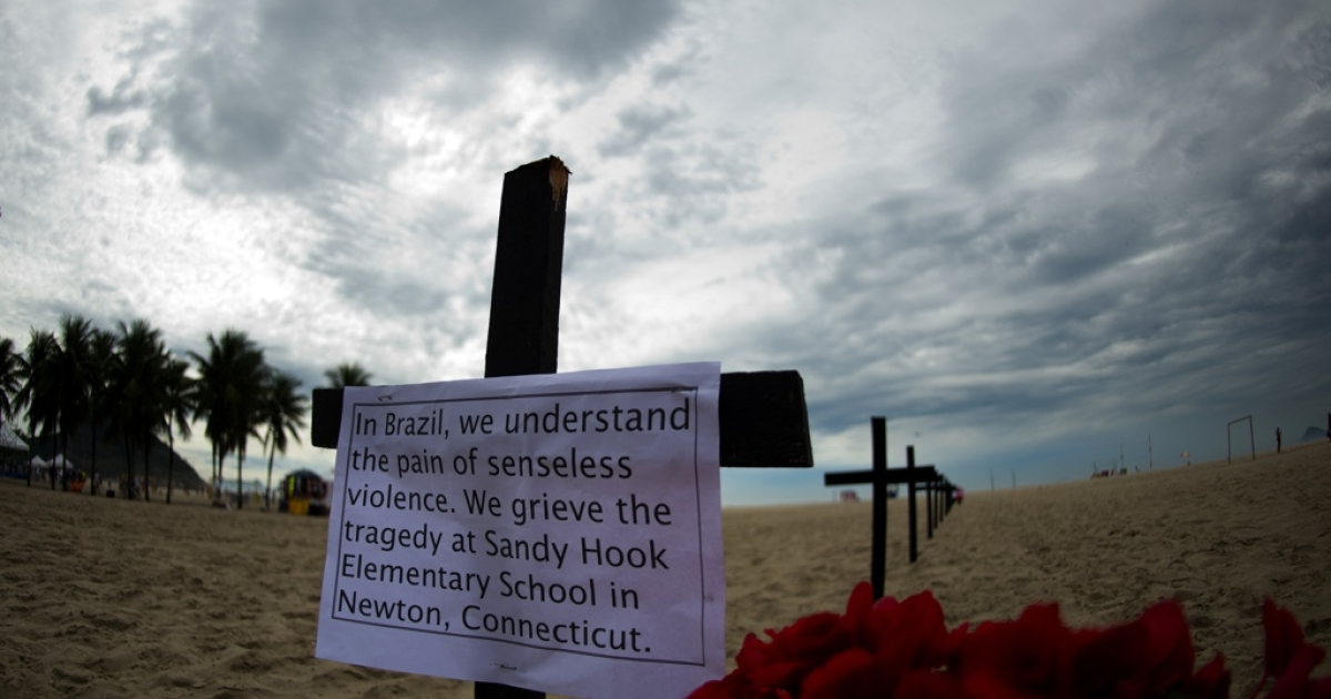 Brazil's Sandy Hook memorial, set up on Rio de Janeiro's Copacabana beach on Dec. 15, 2012 by activist group Rio de Paz (Rio of Peace) for the victims of the elementary school shooting in Newtown, Conn.</p>