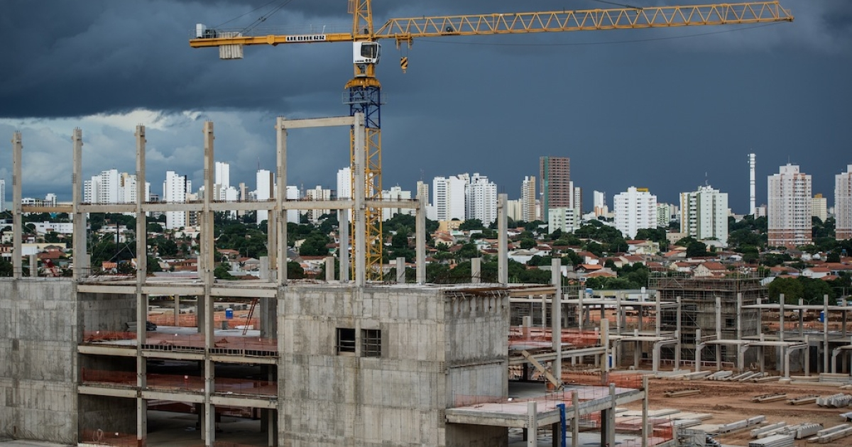 View of the construction site of a new stadium for the FIFA World Cup 2014, Arena Pantanal, in Cuiaba, Mato Grosso State, Brazil.</p>