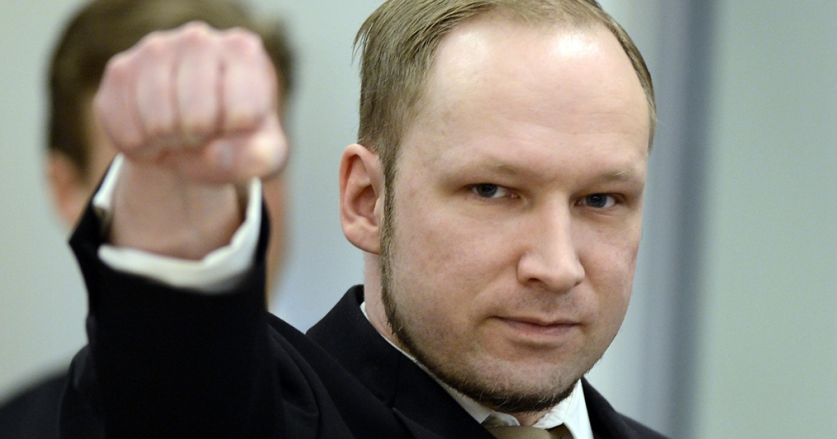 Rightwing extremist Anders Behring Breivik, who killed 77 people in twin attacks in Norway last year, makes a farright salute as he enters the Oslo district courtroom at the opening of his trial on April 16, 2012. Breivik told the Court that he did not recognise its legitimacy. Since Breivik has already confessed to the deadliest attacks in post-war Norway, the main line of questioning will revolve around whether he is criminally sane and accountable for his actions, which will determine if he is to be sentenced to prison or a closed psychiatric ward.</p>