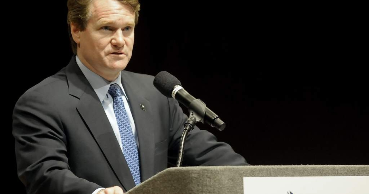 Brian T. Moynihan, President and CEO of Bank of America Corp addresses the annual economic forecast forum sponsored by the North Carolina Bankers Association and the state's Chamber of Commerce January 4, 2010 in Raleigh, North Carolina.</p>