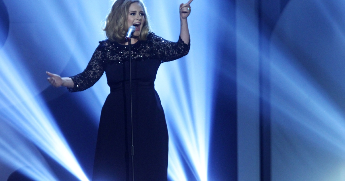 Adele performs at The Brit Awards 2012 at The O2 Arena on February 21, 2012 in London, England.</p>