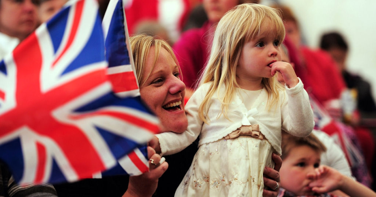 Ruby Newsham (right) and Janette Newsham from Theale watch the wedding of Prince William and Kate Middleton in the Village of Bucklebury on April 29, 2011 in Bucklebury, United Kingdom.</p>