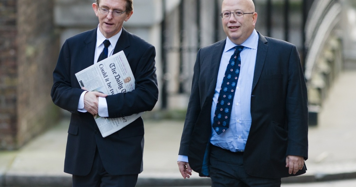 The editor of The Telegraph Tony Gallagher (L) and the editor of The Independent Chris Blackhurst (R) arrive in Downing Street ahead of a meeting to discuss the regulation of newspaper conduct on December 4, 2012. Prime Minister David Cameron met with editors of major British newspapers following proposals set out by judge Brian Leveson in a major report into press ethics in Britain, conducted in the wake of the phone-hacking scandal at Rupert Murdoch's News of the World.</p>