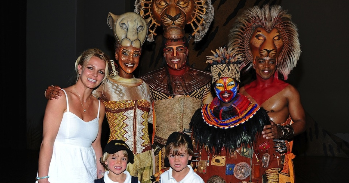 Britney Spears, Sean Preston, And Jayden James Attend Disney's THE LION KING At Mandalay Bay on April 3, 2011 in Las Vegas, Nevada.</p>