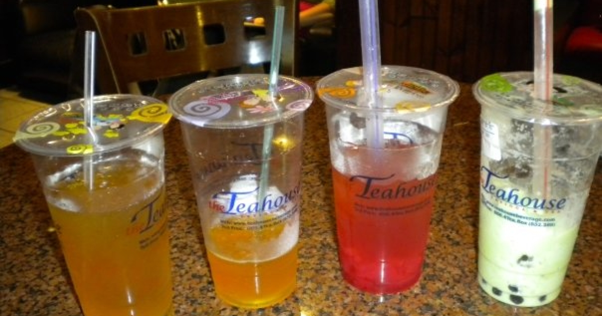 Four Bubble Tea drinks from the Teahouse in Houston, Texas.</p>
