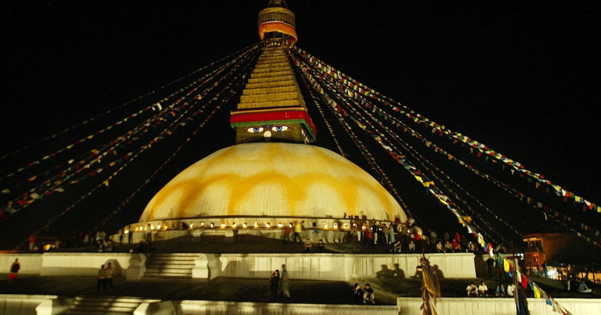 Boudhanath, one of the world's largest stupas, is shown illuminated on the occasion of the 2547th Buddha Jayanti, or Buddha's birthday, May 16 in Lumbini, Nepal. Stupas are dome-shaped structures that serve as a Buddhist shrines. The village of Lumpini is known to the world's Buddhists as the Buddha's birthplace.</p>