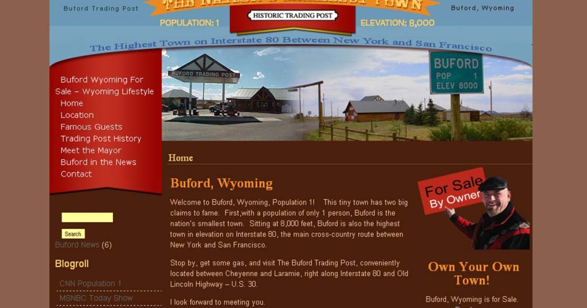 Buford, Wyo., advertised as the smallest town in the U.S. with just one resident, is going on the auction block next month.</p>