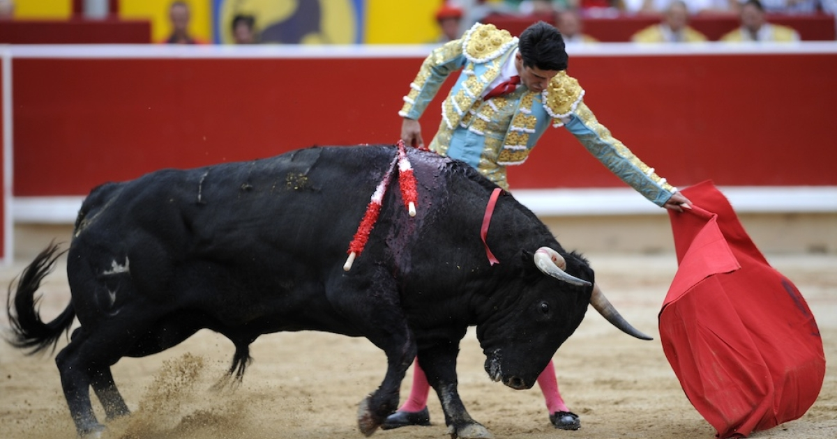 Spanish matador Alejandro Talavante in action at the San Fermin festival in Pamplona on July 13, 2012.</p>
