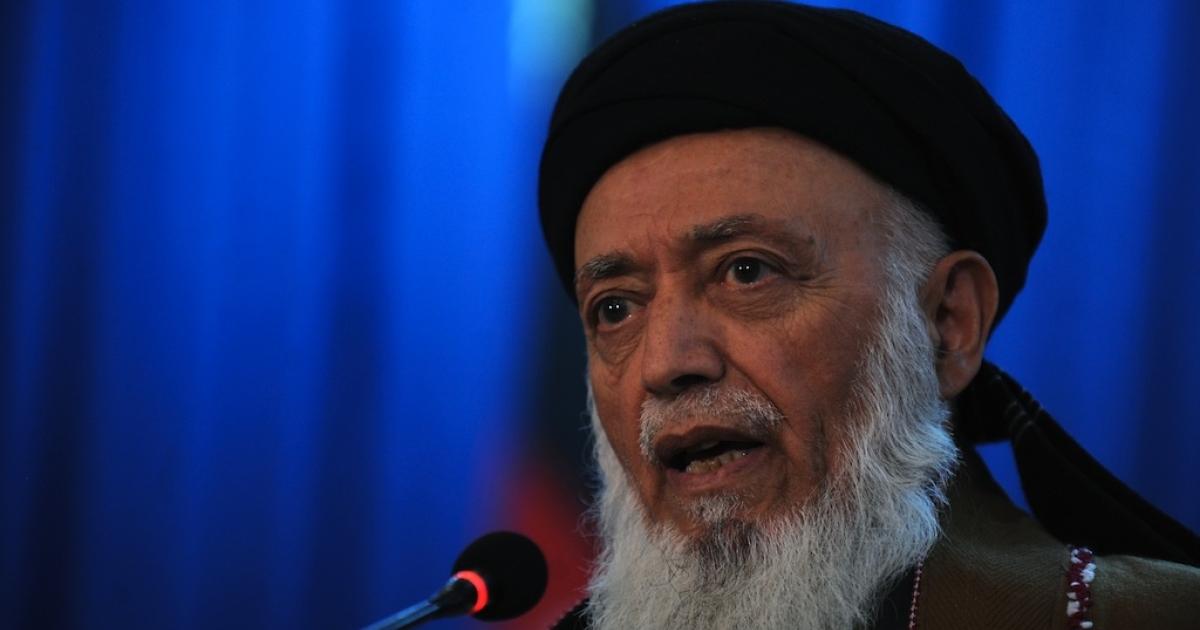 Burhanuddin Rabbani, former Afghan president, speaks during a press conference in Kabul on October 14, 2010.</p>