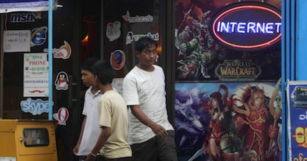 An Internet cafe in Yangon, Myanmar's largest city. With busy cyber cafes across the main city Yangon, the web offers a way to tap the city's youth, despite slow connections, frequent power cuts and huge risks over online activity that the regime deems subversive.</p>