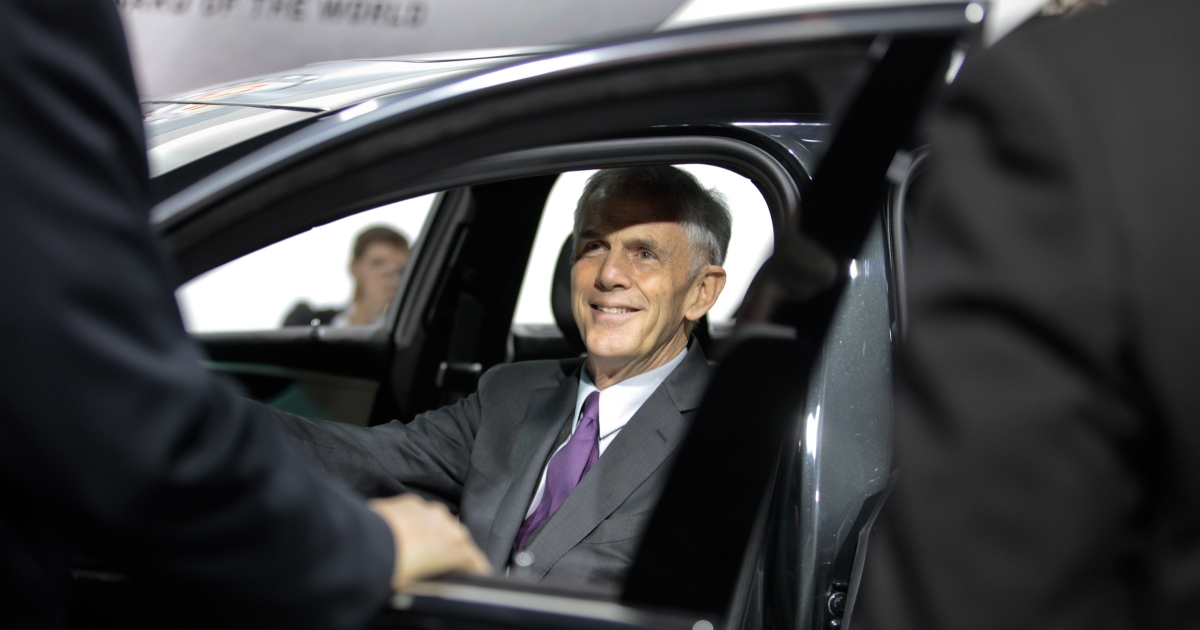 US Commerce Secretary John Bryson sits in the Cadillac XTS during his tour of the North American International Auto Show in Detroit, Mich., on Jan. 10, 2012.</p>