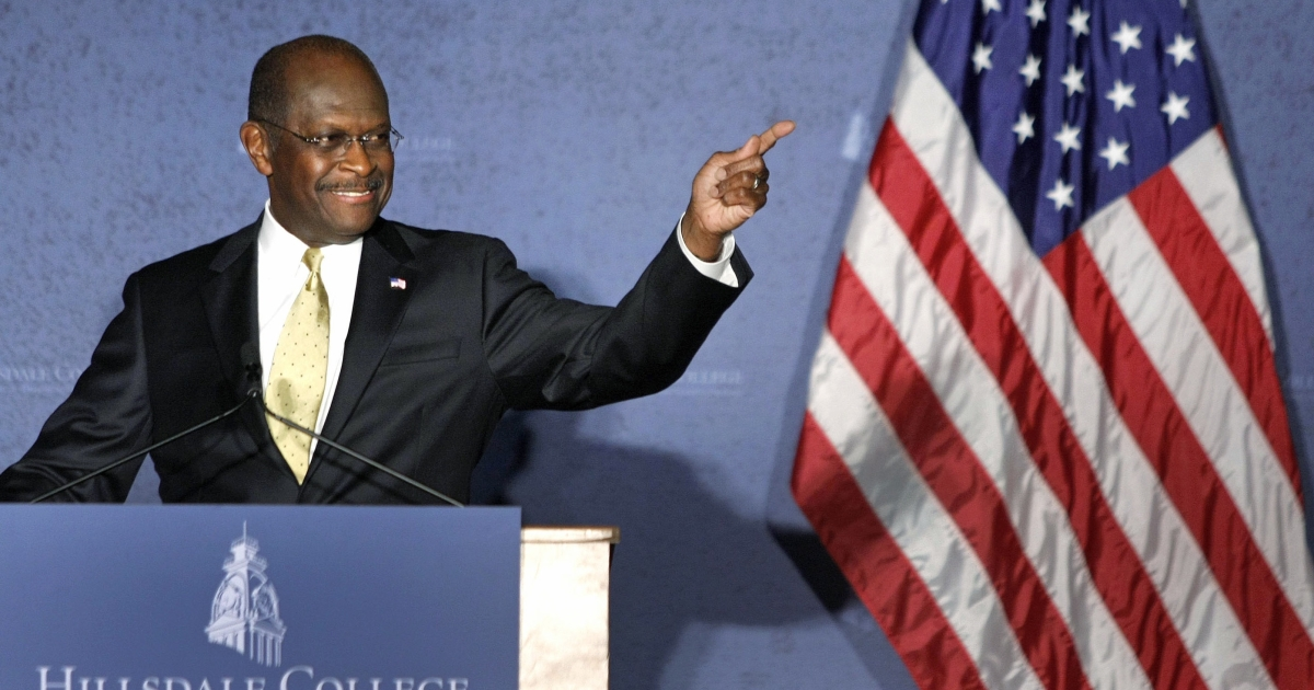 Republican presidential candidate Herman Cain delivers a speech about foreign policy at Hillsdale College in Hillsdale, Mich., on Nov. 29, 2011.</p>